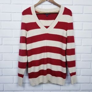 GAP Red & White Striped Pullover V-Neck Sweater  L